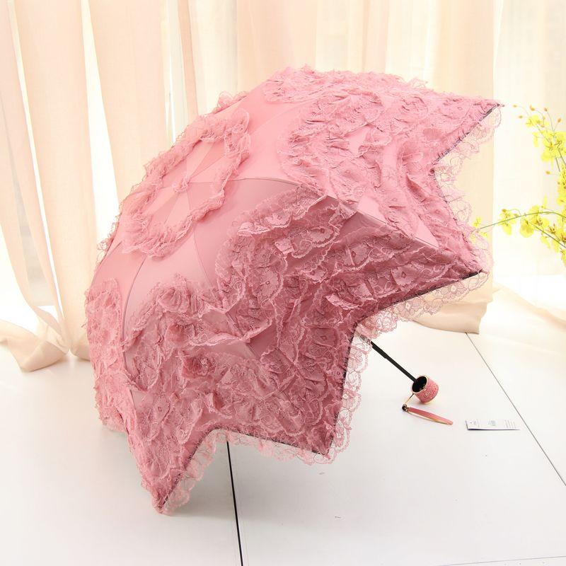 韩国公主创意拱形折叠防晒伞防紫外线太阳伞女蕾丝黑胶遮阳伞