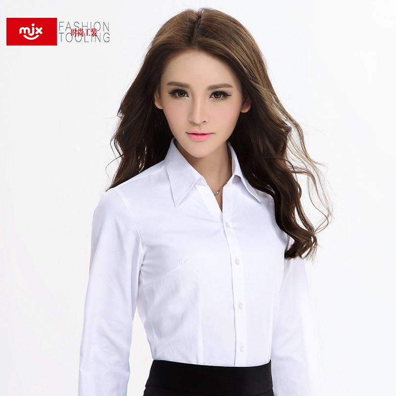MJX2015 осень новый стиль белая рубашка женщин с длинными рукавами рубашки тонкий OL оснастка работы одежду Одежда женская