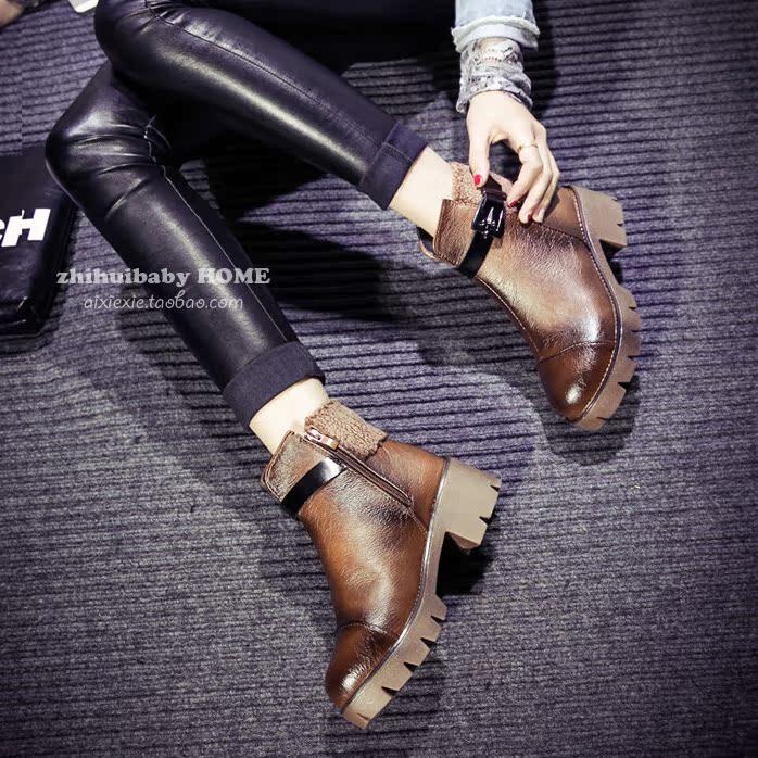 Мудрость baby ботинки осень/зима женщина пояса пряжки мода женщин сапоги в Англии с Кучерявая перо голову грубо старинные сапоги Мартин
