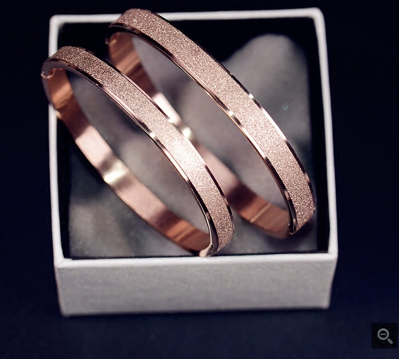 Korea plated 18k rose gold color gold bracelet frosted lovers Bracelet titanium steel simple fashion bracelet womens and mens jewelry s