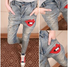 Autumn wear jeans female han edition of the new embroidery rivet feet pencil pants, cultivate one's morality show thin light color female trousers