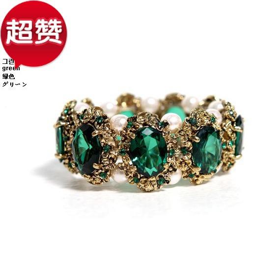 Европа и стильный ретро Изумрудный кристалл жемчужина браслет жемчуг браслет k моды Показать аксессуары