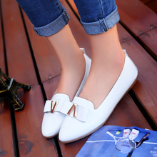 Leisure lazy work shoes lady pure color pointed flat sweet bowknot contracted flat slip-on shoes for women's shoes