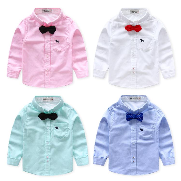 男童襯衫 春  兒童長袖襯衣純色 男寶寶打底襯衫送領結