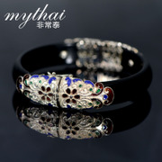 Very Thai opening natural black agate bracelet 925 Silver ladies fashion bracelet Peacock cloisonne