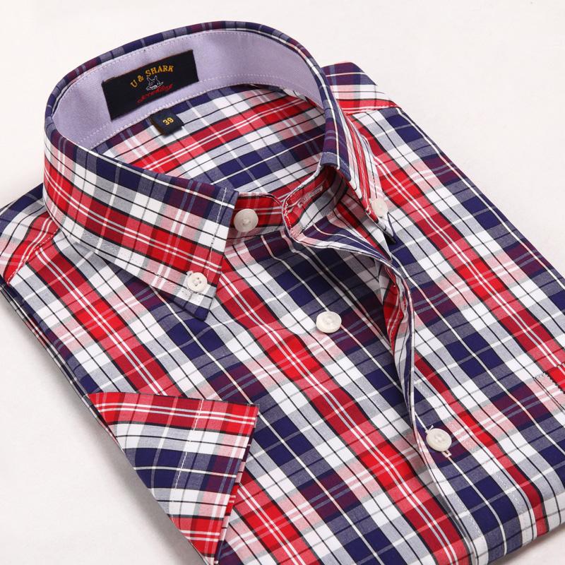 ~3件69元~優鯊全棉美式水洗短袖襯衫男士 格子寸衫 短襯衣