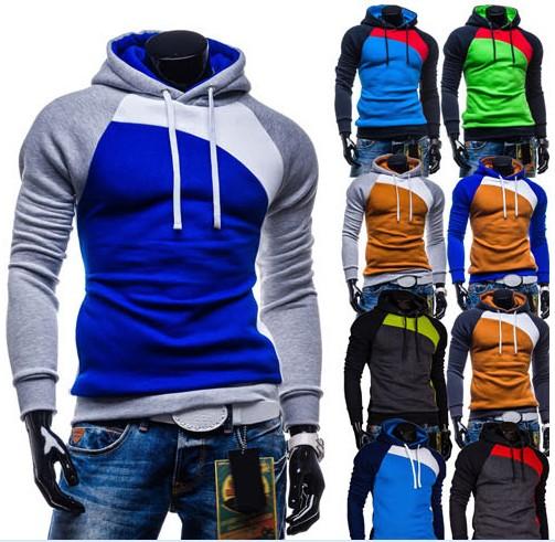 2015 года мужчины падения цвета соответствия Куртка Свитер с капюшоном пуловеры свитер новый мужской 1809-w05-P10