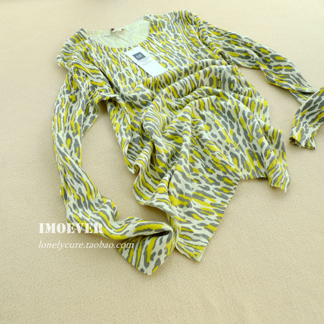 к 2015 году весна женщин леопарда печати свитер счетчик подлинной loose хлопка свитер пуловер плюс размер