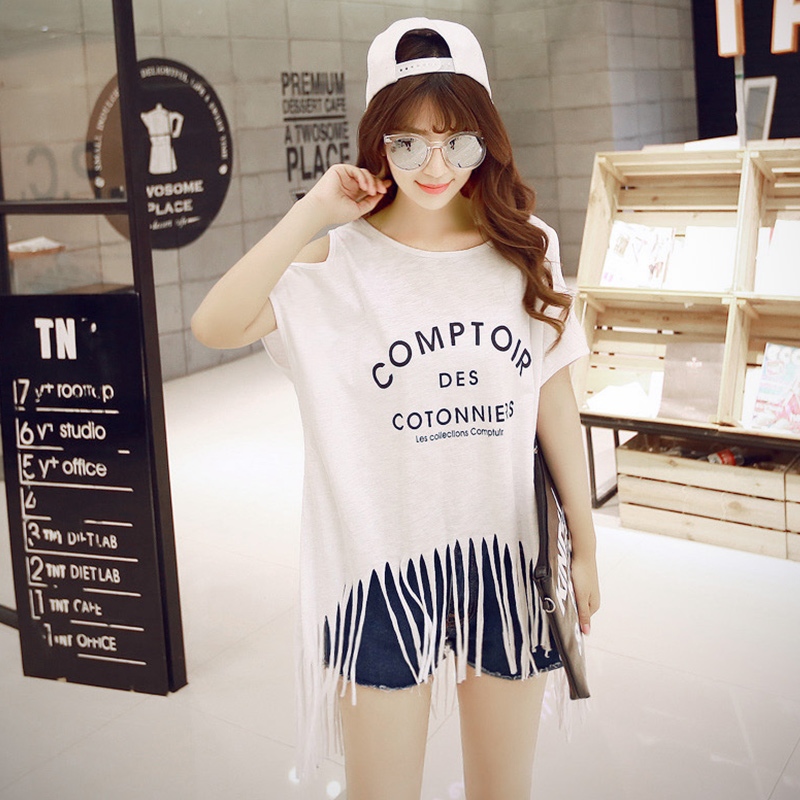 Summer season second half missing letter t-shirt female student loose clothes off shoulder sexy tassel short sleeve College