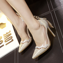 2015 the European and American stars with bowknot rhinestone fine with high heels Dance party shows luxury women's shoes