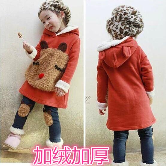 Дети девушки зимой 2015 новая девушка вспышки пальто костюм утолщаются хлопка Детская одежда на осень/зима куртки пальто