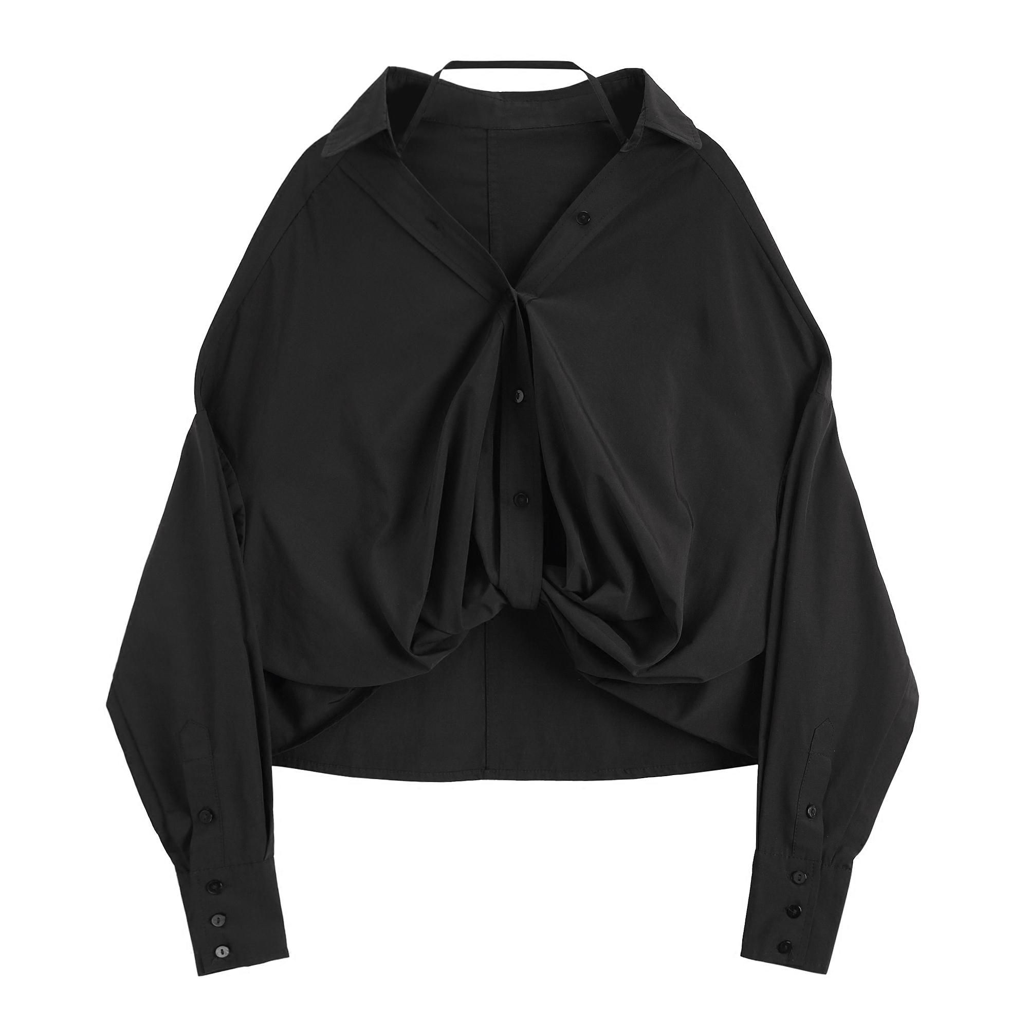 Designer club 秋装上衣女2018新款自制长袖前短后长V领宽松衬衫