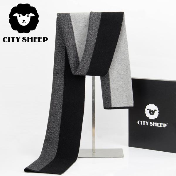 CITYSHEEP韩版高档纯羊绒围巾男士冬季加厚潮拼色围脖礼盒装送礼