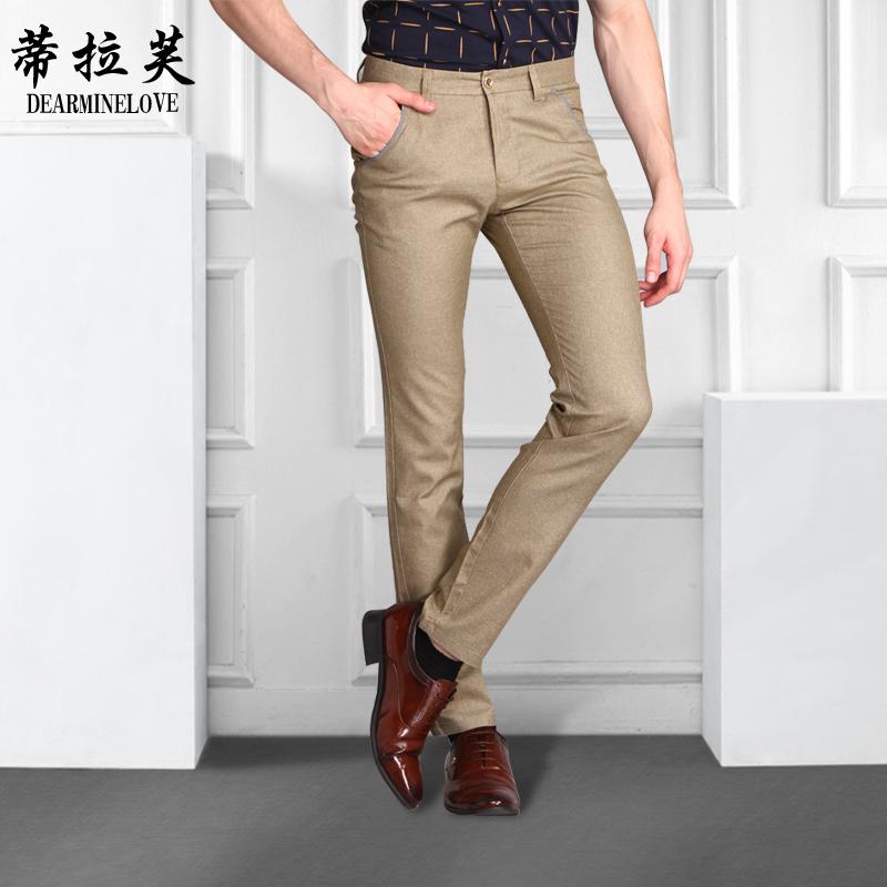 蒂拉芙 薄款男 褲 夏裝褲子修身男褲 免燙抗皺小腳褲