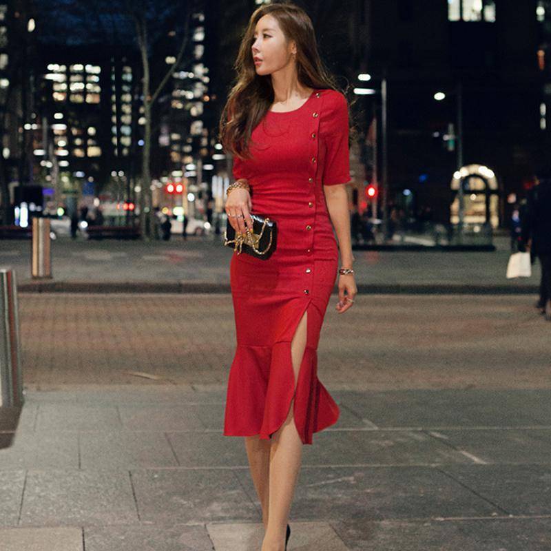 夏装2018新款女装韩国五分袖修身鱼尾连衣裙性感名媛气质包臀礼服