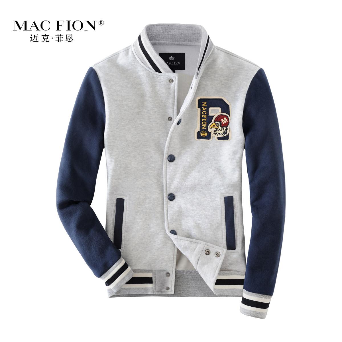 Macfion 邁克 middot 菲恩2016 男士撞色立領衛衣男外套