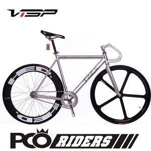 VISP死飛自行車PCO倒騎真死飛五刀輪DIY帶活飛男女款死飛車整車