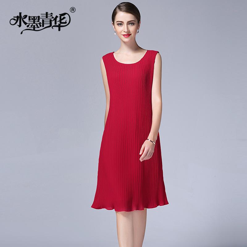 水墨青华夏装新品气质修身无袖背心裙优雅纯色褶皱雪纺连衣裙