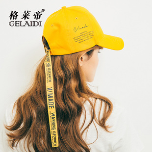 Hat female summer casual wild student couple printing long belt baseball cap letter wide 檐 bend along the cap