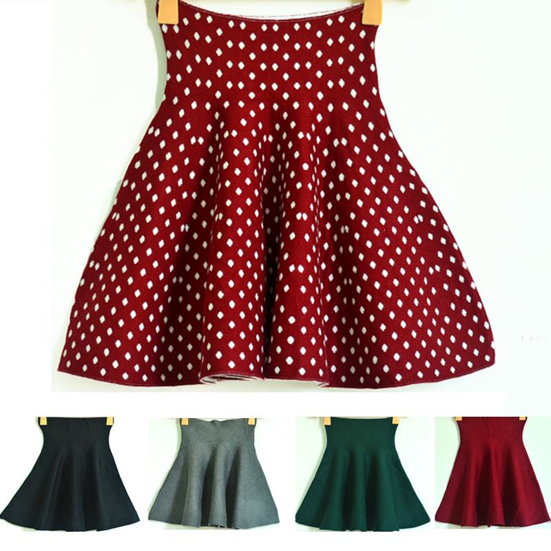 Новый цвет высокой талией платье vintage Бордо в конце сплошной цвет вяжет половину помпоном юбка упругой талии Джокер