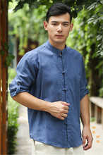 Men's original cotton and linen zen tea were male, 2015 summer and the flax plate buckles 5 color 7 minutes of sleeve shirt collar
