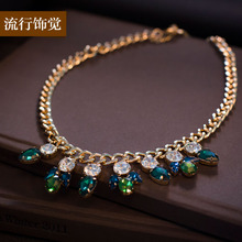 Exclusive original design of new fund of 2015 autumn winters, European and American fashion brand drill exaggerated decorative glass necklace