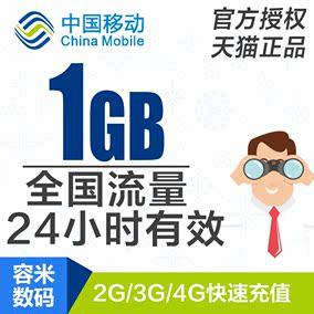 湖南移动流量充值1GB 全国手机流量日包 24小时有效 hn yd