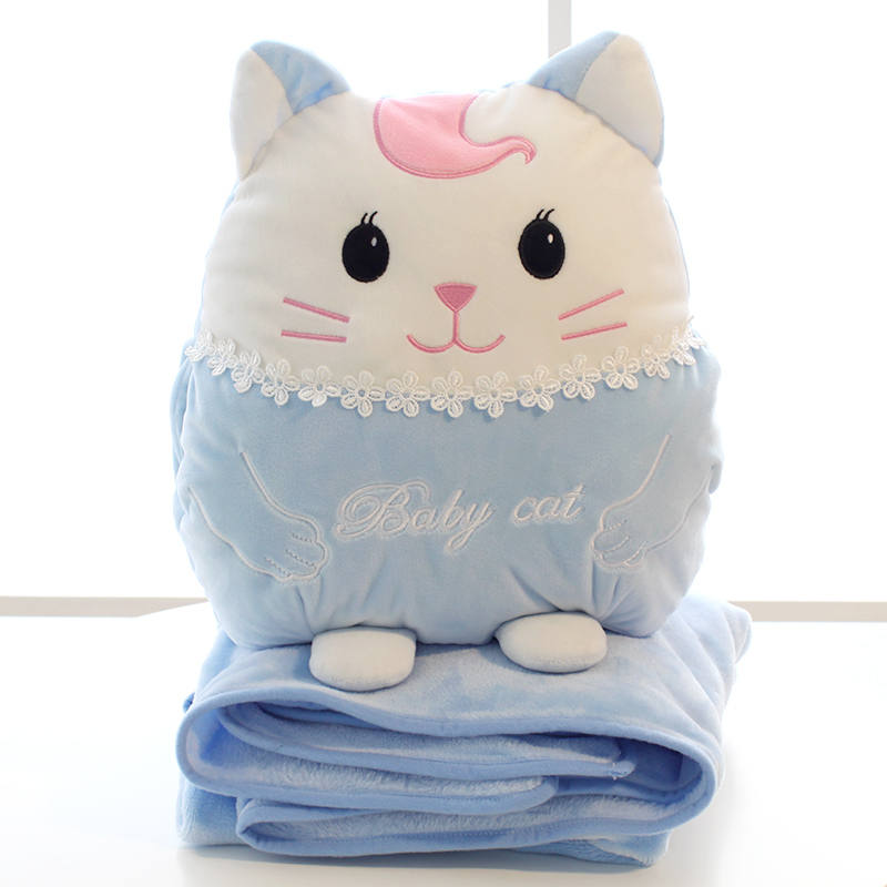 卡通可爱猫羽绒棉抱枕被子两用靠枕10-15新券