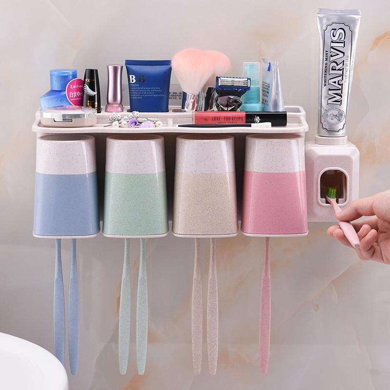 """Поглощать стена стиль держатель щетки мыть установите настенный держатель щетки """"кубок типа чашки всасывания чистите зубы чашка автоматическая сжатие зубная паста устройство"""