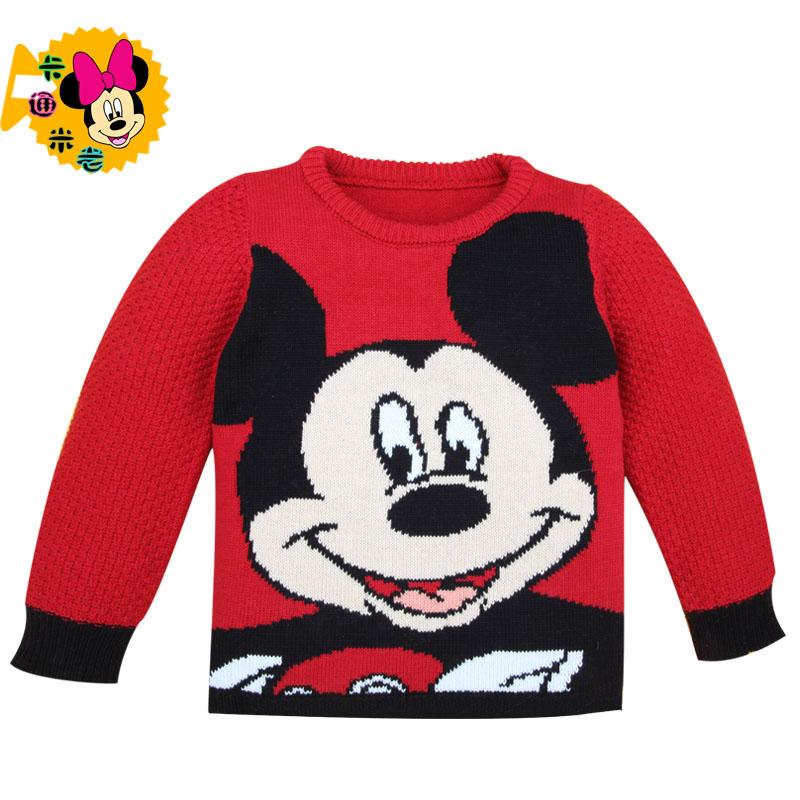 Мальчики и девочки осень/зима свитер мода Микки Маус новых детей одежда младенца младенца хлопка экипажа шеи вязать топ