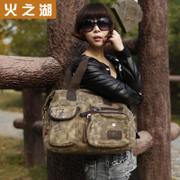 Lake of fire new canvas bags handbags bags shoulder bags diagonal bags bag retro wave fashion Lady's handbag bag