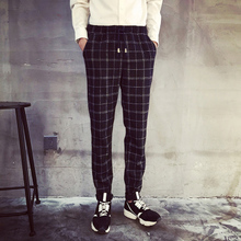 Han edition vogue of new fund of 2015 autumn outfit is recreational wool? Big grid draw string cultivate one's morality leisure trousers ICONS
