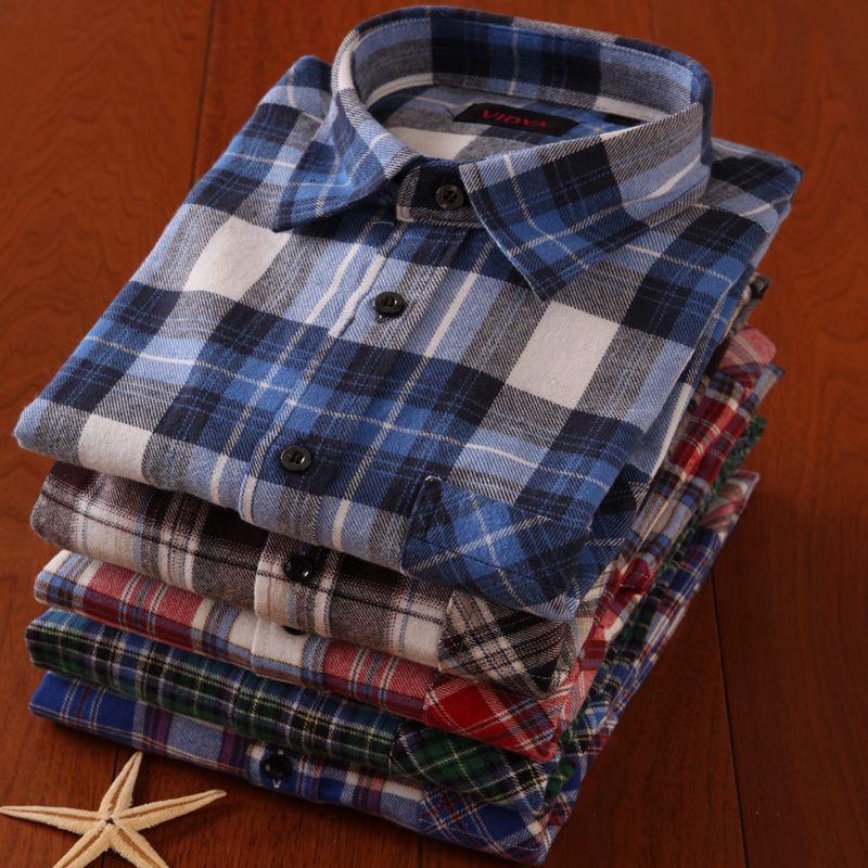 包邮春秋新款男装长袖格子衬衫修身纯棉磨毛男士青年休闲尖领衬衣