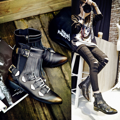 In the fall and winter of 2015 the European and American punk leather with thick with low point belt buckles tassel female short boots Martin boots