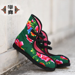 Chinese dance national wind wind Northeast cloth shoes, China shoes heel high shoes with flat round head female beauty