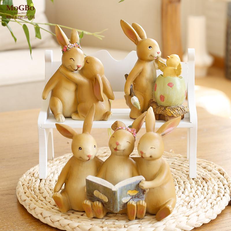 蘑菇堡家居樹脂擺件彼得兔美式複古兔子裝飾擺設抱蛋田園萌兔娃娃