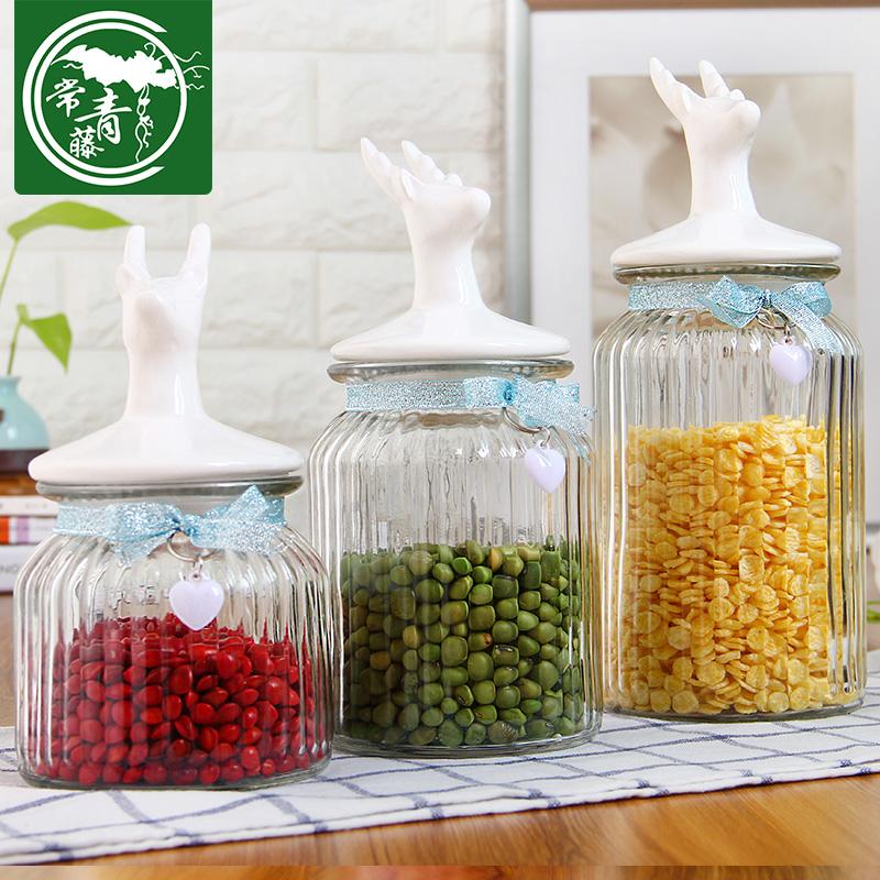 常青藤無鉛玻璃瓶花草茶葉密封罐 歐式陶瓷麋鹿蓋瓶儲物罐蜂蜜瓶