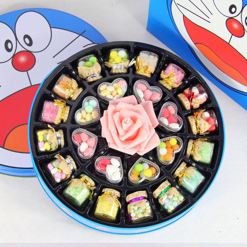 平安夜圣诞节送男女孩子哆啦A梦糖果礼盒 铁盒 许愿瓶糖果 礼物