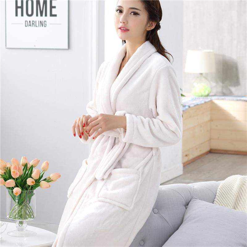 Ночные рубашки фланелевые женщин коралловые флис одеяние Ванна одеяния мужчин пары осенью и зимой длинные пижамы, пижамы и loungewear утолщена и утолщенные