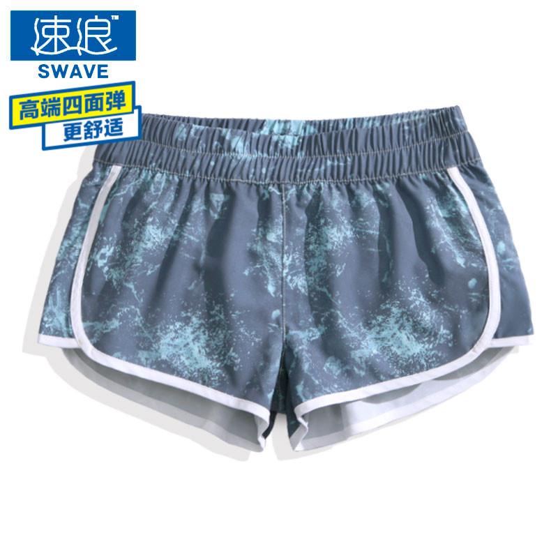 Скорость волна свободный быстросохнущие пляж брюки женщина шорты приморский праздник прямо плавки трети брюки печать спа брюки