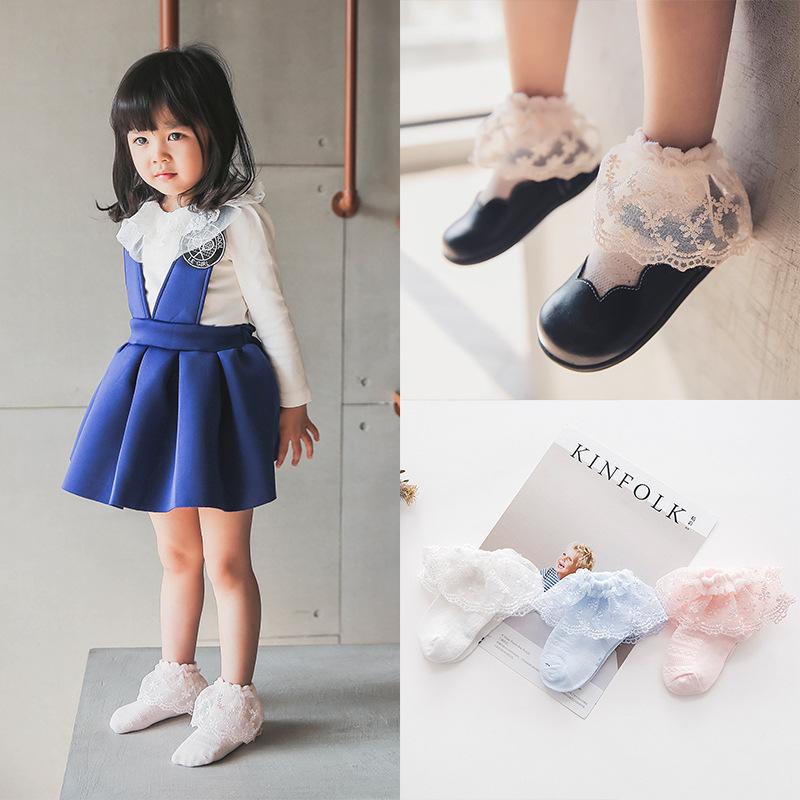 C350儿童袜子纯棉 卓上棉品童袜 韩国春季全棉蕾丝花边超薄网眼袜