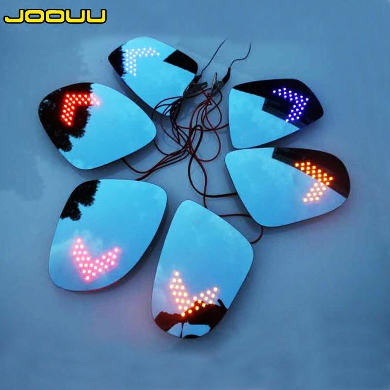 大视野蓝镜带LED转向灯 防眩目后视镜片改装电加热倒车镜片防眩光