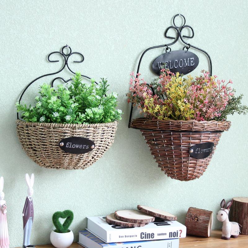 田園家居牆上柳編吊籃花盆 懸掛藤編花籃子客廳壁掛裝飾品花器