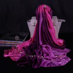 罗兰蒂 女士春秋渐变丝巾缎面围巾披肩两用超大长款加厚纱巾冬