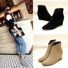 Fall 2015 New England sexy pointed shoes comfortable wedges leisure joker contracted frosted velvet short boots