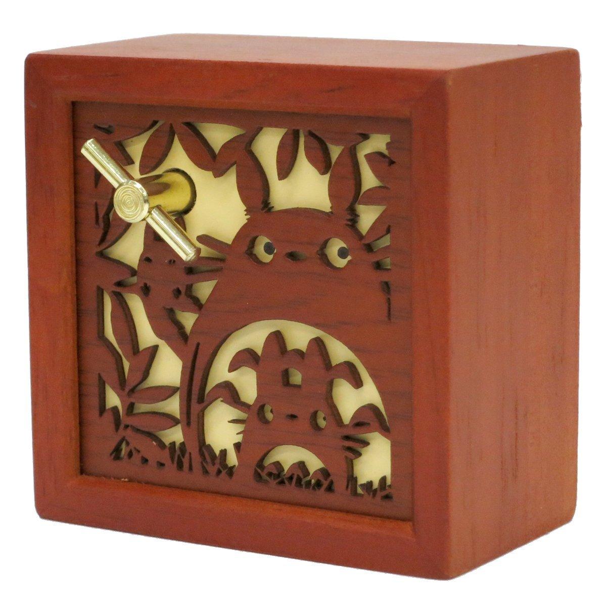 日本正版宫崎骏动画周边 龙猫音乐盒/八音盒-木质木雕盒形