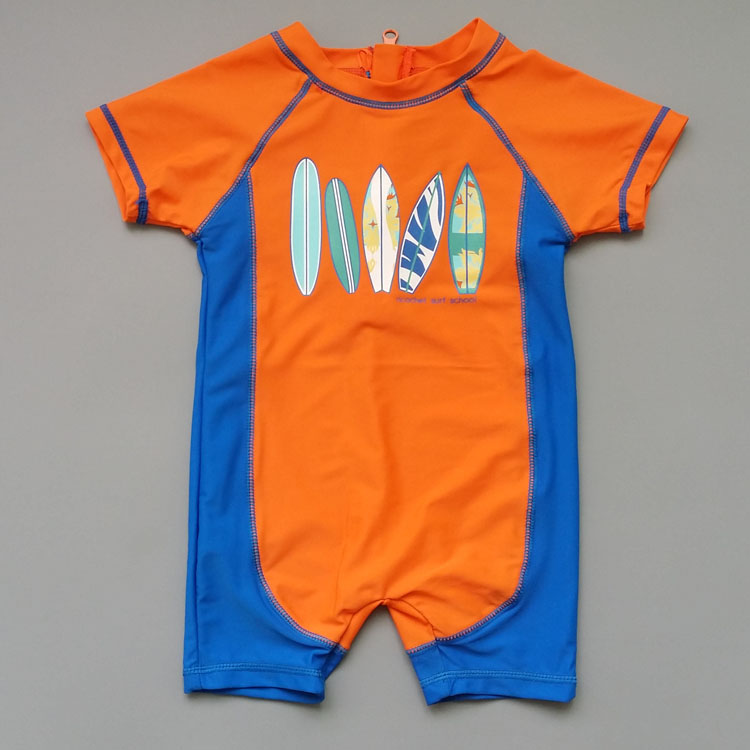 Childrens one-piece swimsuit boy baby color matching surfsuit sunscreen UPF50 swimsuit