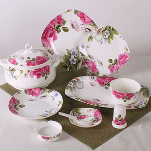 Household Gift Jingdezhen 56 bone china tableware ceramic dishes Chinese dishes suit sub Cheap Free