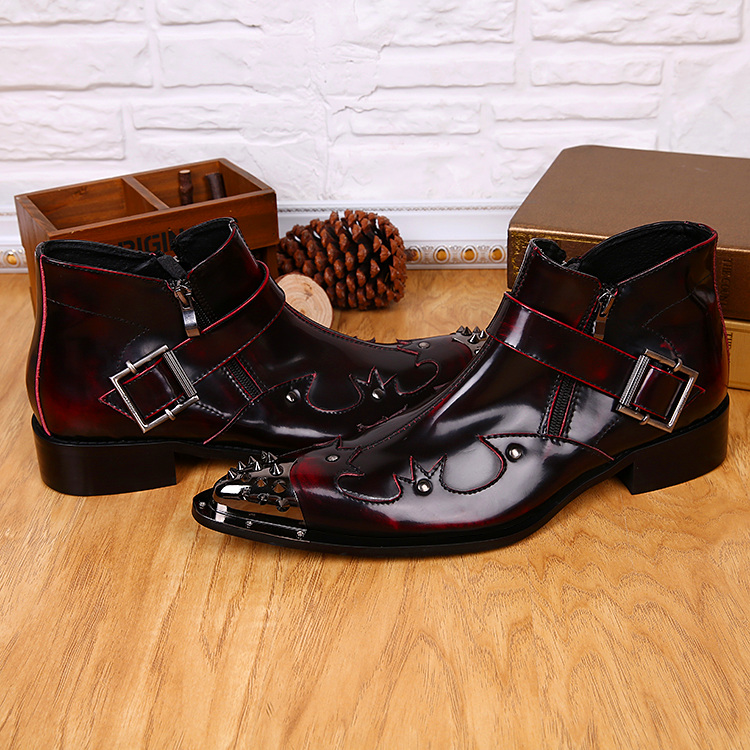 Italian foreign trade pointed iron head mens boots short boots leather fashion personality host stage show trend leather boots
