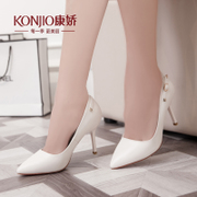 Kang Jiao new spring shoes asakuchi sweet wedding shoes stiletto pointy shoes with high work-Korean version of Red Joker